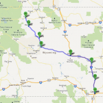 Day One: Our route through Wyoming . . . north from Cheyenne to Cody - 392 miles.