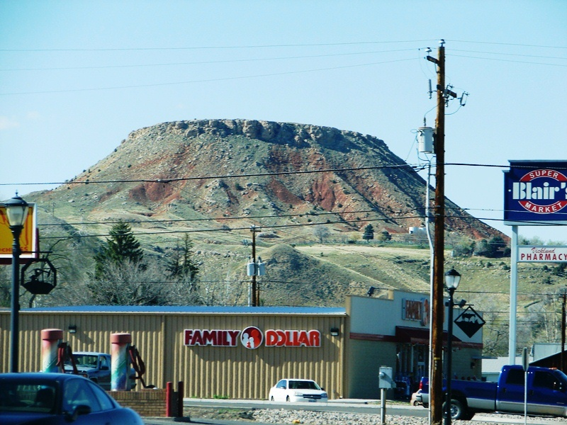 Roundtop Mountain looms large above the local businesses.
