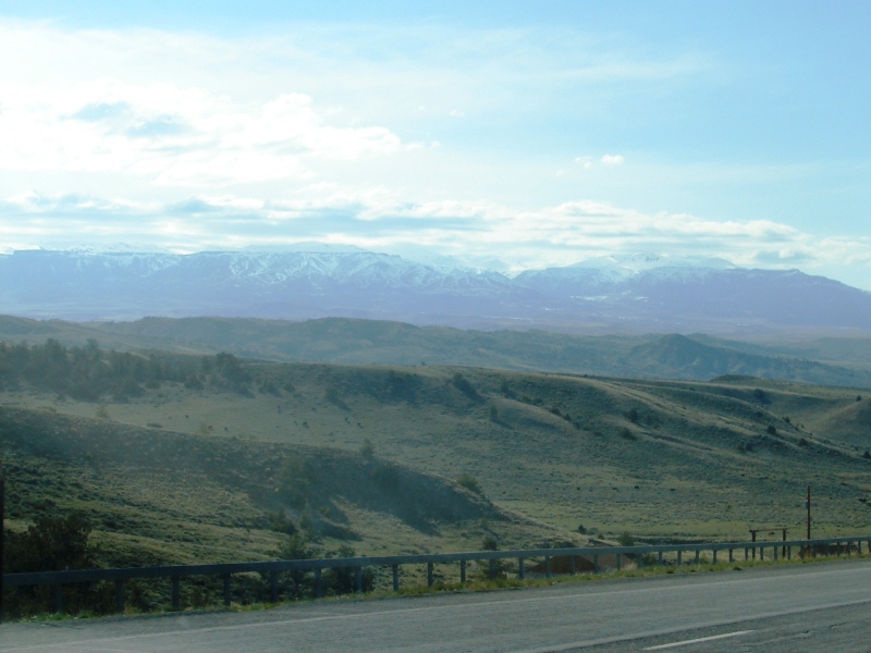 Our first glimpse of majestic, snow-capped mountains in northwestern Wyoming.
