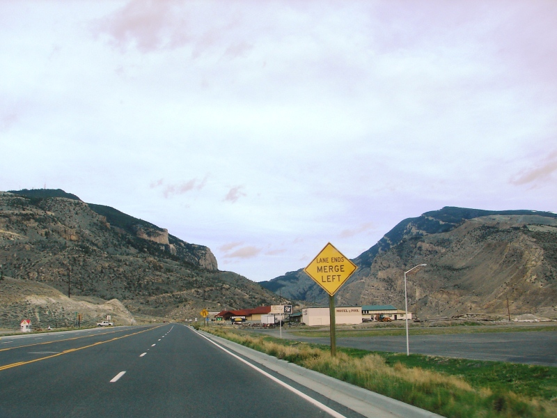 Westward ho . . . on the North Fork Highway, leaving Cody and approaching Shoshone Canyon.