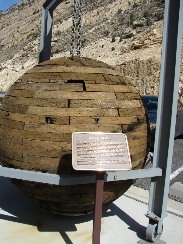 Original wood and concrete ball plug once used to halt the flow of water from the Shoshone River.
