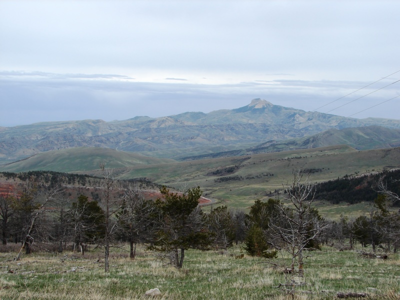 To the east, Heart Mountain is visible in the hazy distance (about 43 miles away).