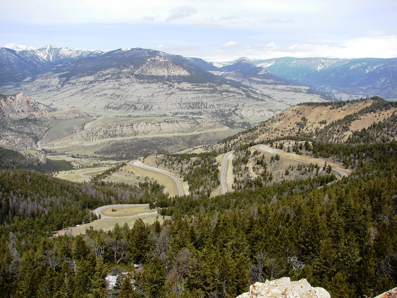 View from Dead Indian Overlook with the Chief Joseph Scenic Byway and its switchbacks.