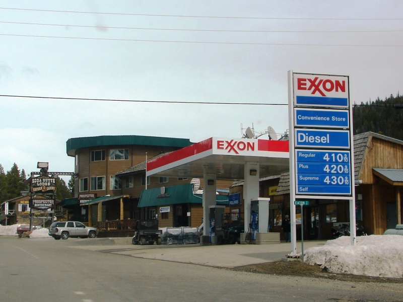 At the Cooke City Exxon, you can get gas and rent a snowmobile.
