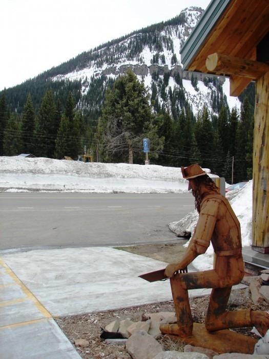 Metal sculpture of miner at Cooke City Visitor's Center.